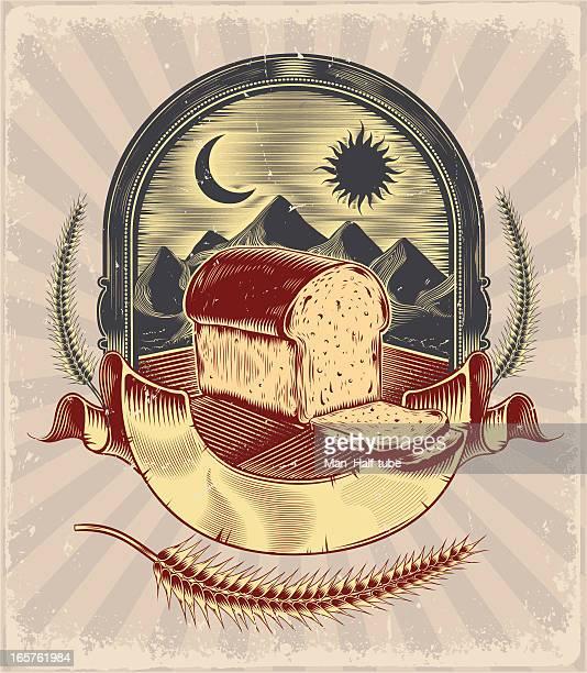 ilustraciones, imágenes clip art, dibujos animados e iconos de stock de etiqueta de pan - espiga de trigo