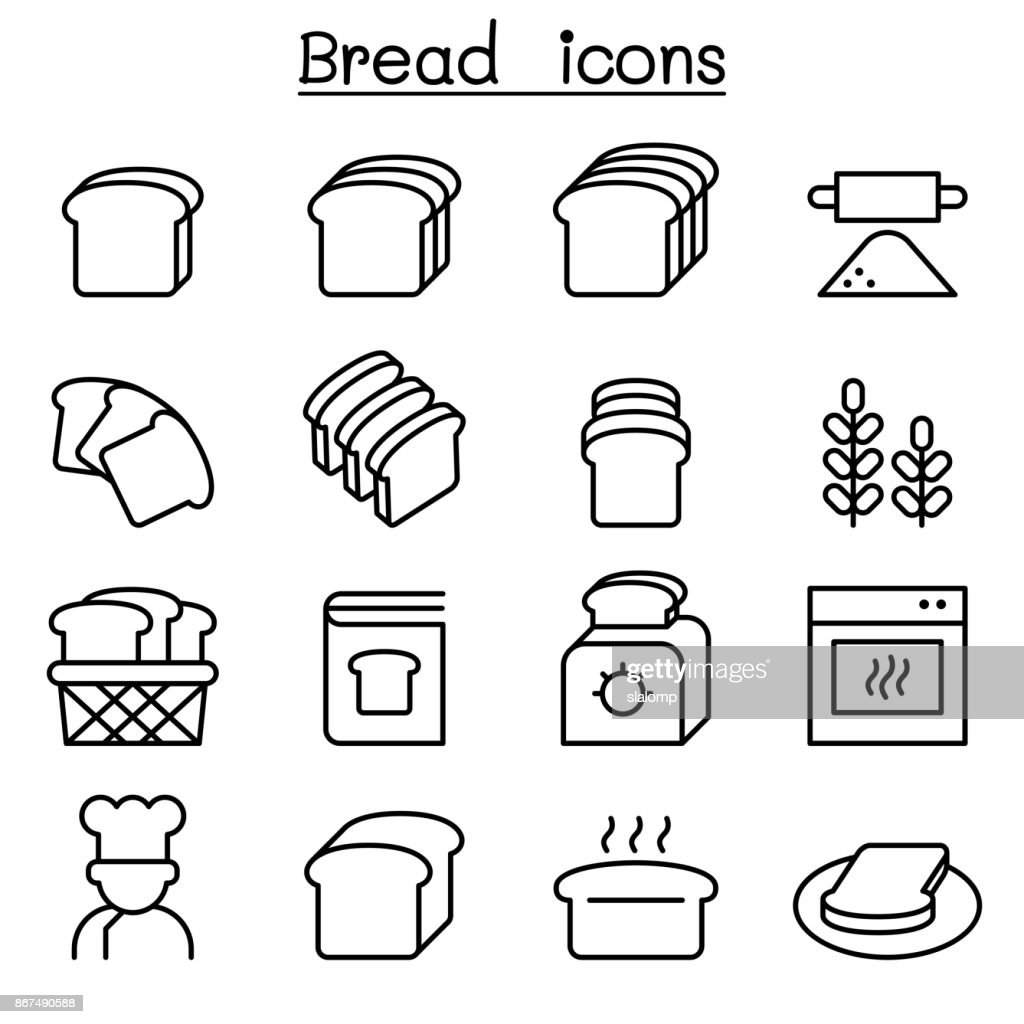 Bread, Loaf, Bakery & Pastry icon set in thin line style
