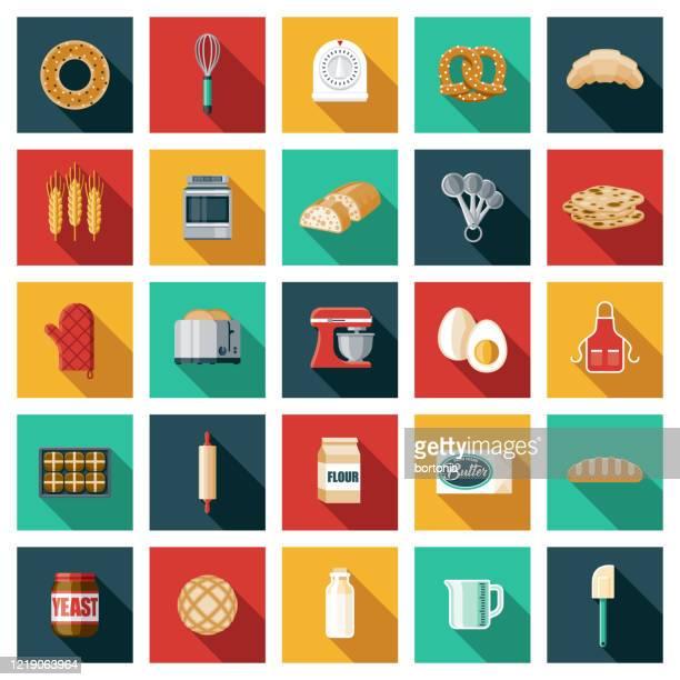 パン作りアイコンセット - オーブン点のイラスト素材/クリップアート素材/マンガ素材/アイコン素材