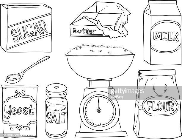 bread making ingredients in black and white - kitchen scale stock illustrations, clip art, cartoons, & icons