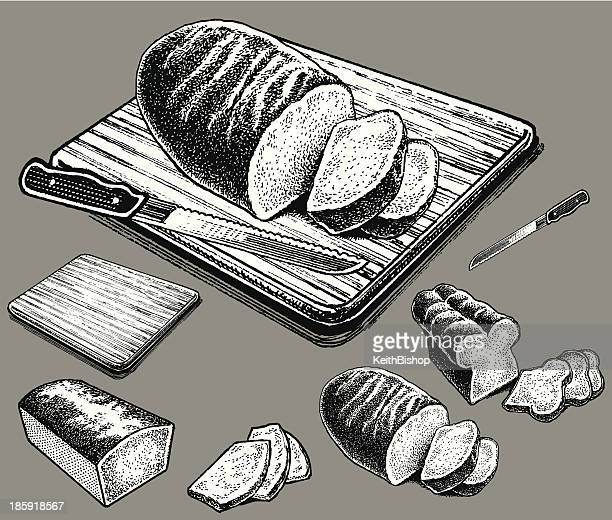 bread on cutting board - serving size stock illustrations, clip art, cartoons, & icons