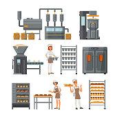 Bread production icon set vector illustration