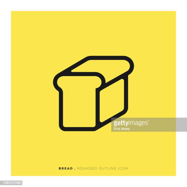bread rounded line icon - baker occupation stock illustrations