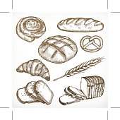 Bread sketches, hand drawing