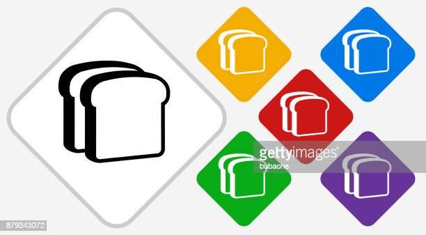 Bread Slices Color Diamond Vector Icon