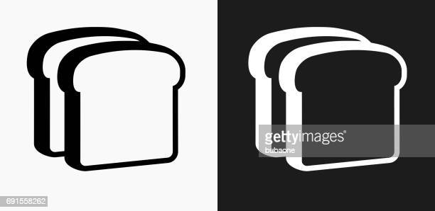 Bread Slices Icon on Black and White Vector Backgrounds