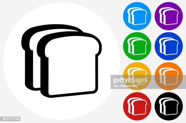 Bread Slices Icon on Flat Color Circle Buttons