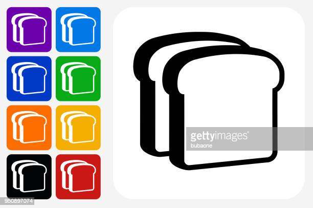 Bread Slices Icon Square Button Set