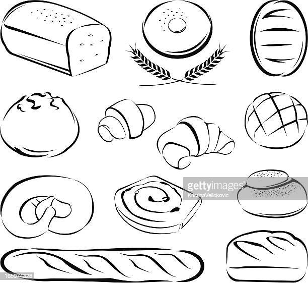 breads - sweet bun stock illustrations, clip art, cartoons, & icons