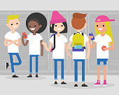 Break at school. Conversation. Front and rear views of teenagers at school corridor. Multiracial friends. Millennials at school. Generation z / flat editable vector illustration, clip art