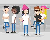 Break at school. Conversation. Teenagers at the corridor. Multiracial millennial friends. Generation z / flat editable vector illustration, clip art