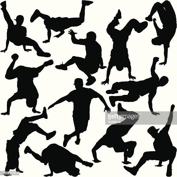 ilustrações de stock, clip art, desenhos animados e ícones de conjunto de silhueta de dança break - hip hop