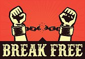 Break free! Hands with clenched fists breaking bonds or chains