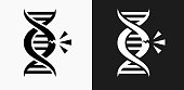 DNA Break Icon on Black and White Vector Backgrounds