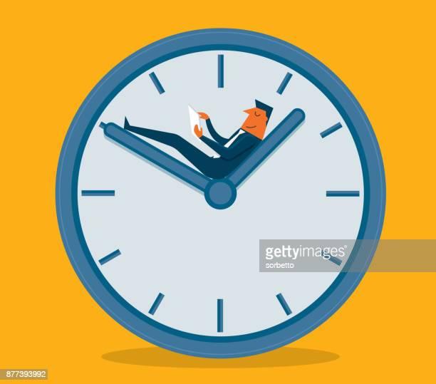 ilustrações, clipart, desenhos animados e ícones de tempo de pausa - empresário - ponteiro grande
