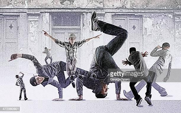 ilustrações de stock, clip art, desenhos animados e ícones de montagem de dança break - hip hop