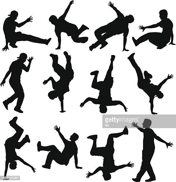 breakdancer silhouettes - dancing stock illustrations, clip art, cartoons, & icons