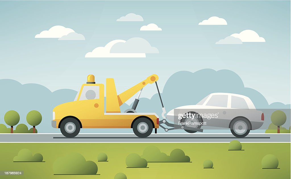 Breakdown Service Tow Truck Vector : Stockillustraties
