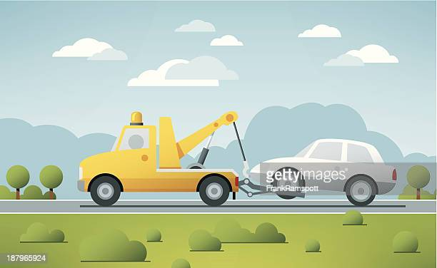 breakdown service tow truck vector - cloudscape stock illustrations, clip art, cartoons, & icons