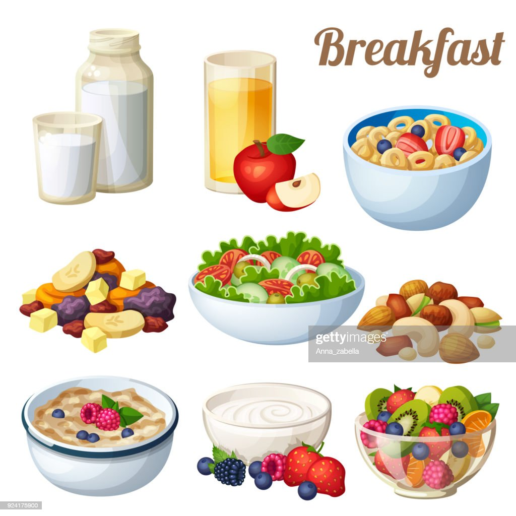 Breakfast 2. Set of cartoon vector food icons isolated on white background