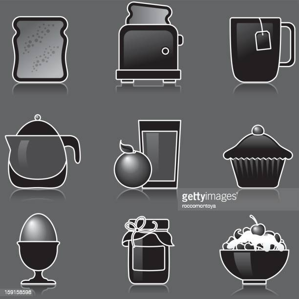 breakfast black icons - toasted sandwich stock illustrations, clip art, cartoons, & icons