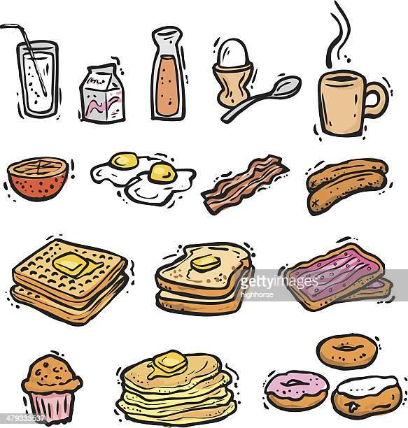 breakfast bonus pack (vectors) - waffle stock illustrations, clip art, cartoons, & icons