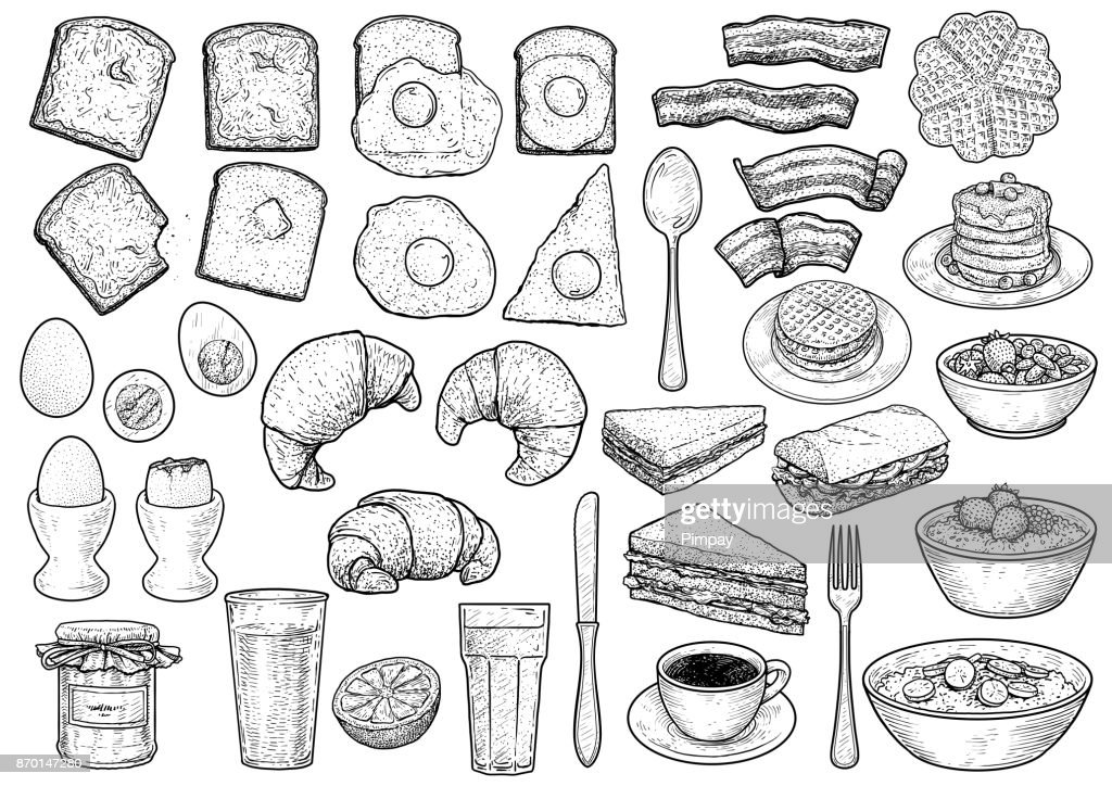 Breakfast collection illustration, drawing, engraving, ink, line art, vector