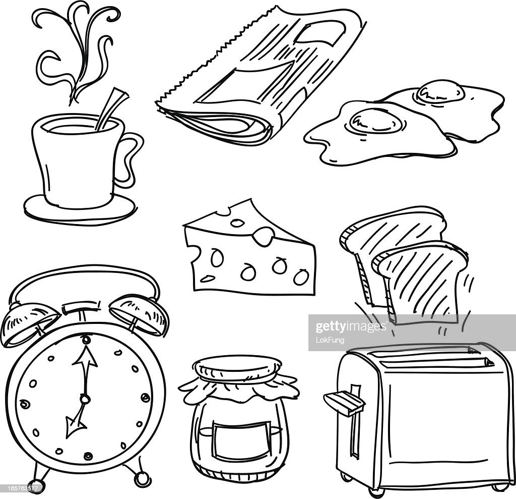 Breakfast collection in black and white : stock illustration