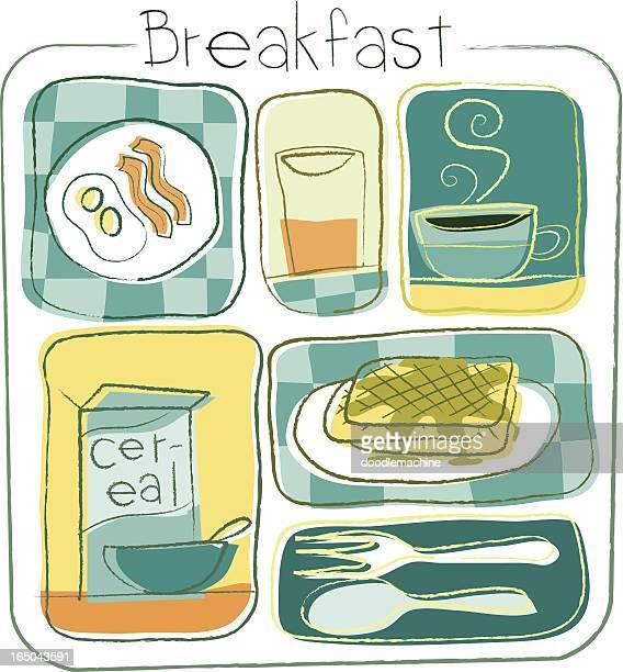 ilustrações de stock, clip art, desenhos animados e ícones de coleção de pequeno-almoço - mesa cafe da manha