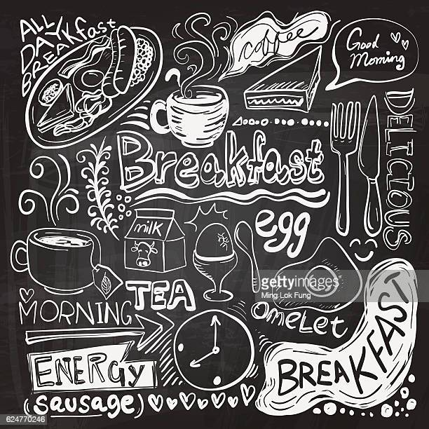 breakfast doodle drawing - hot drink stock illustrations, clip art, cartoons, & icons