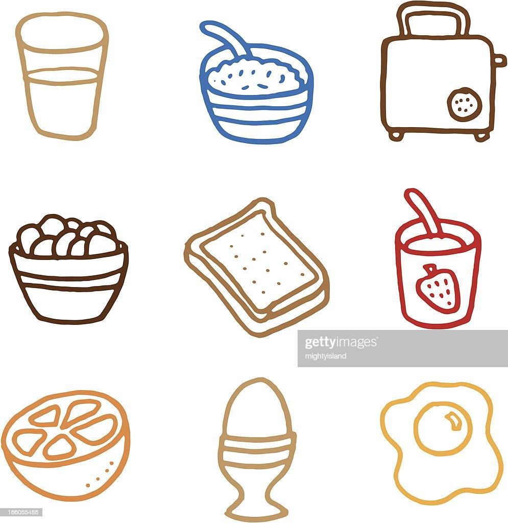Breakfast doodle icon set : stock illustration