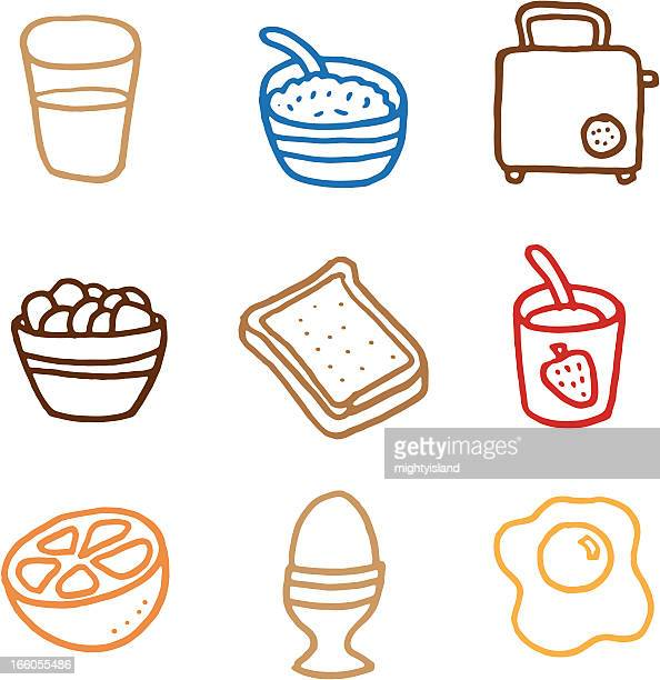 breakfast doodle icon set - breakfast cereal stock illustrations, clip art, cartoons, & icons