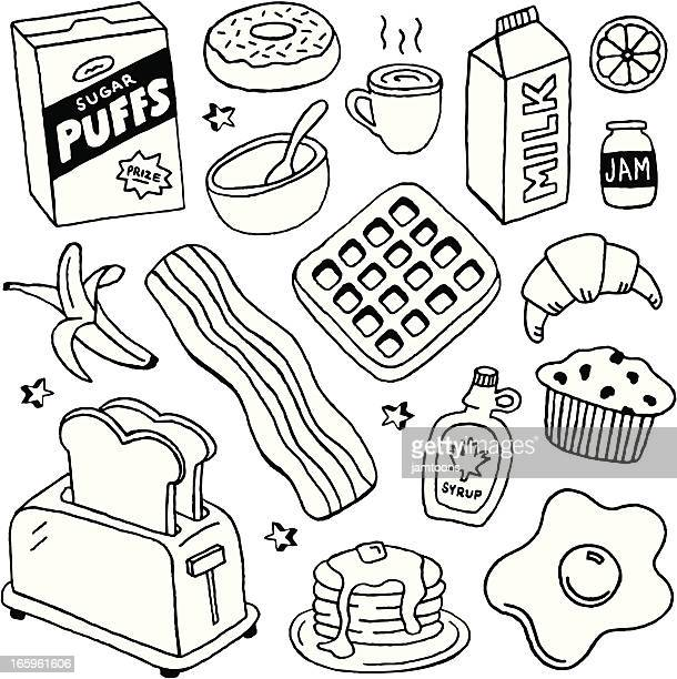 breakfast doodles - breakfast cereal stock illustrations, clip art, cartoons, & icons