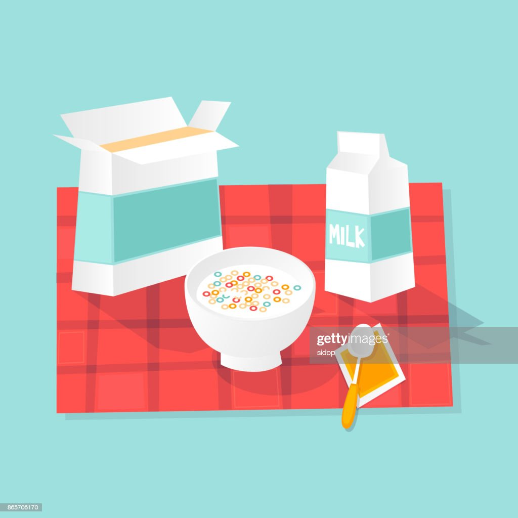 Breakfast dry. Milk and flakes. Flat design vector illustration.