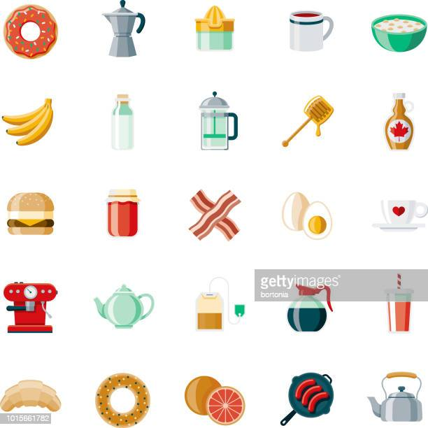 breakfast flat design icon set - breakfast cereal stock illustrations, clip art, cartoons, & icons