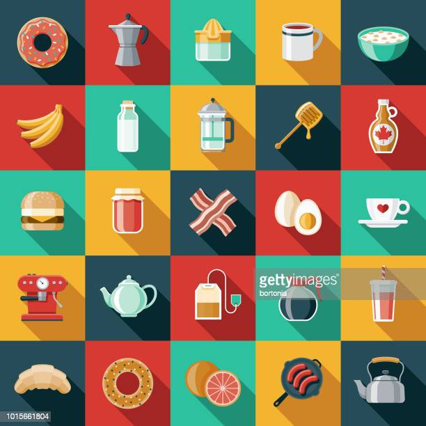 Breakfast Flat Design Icon Set