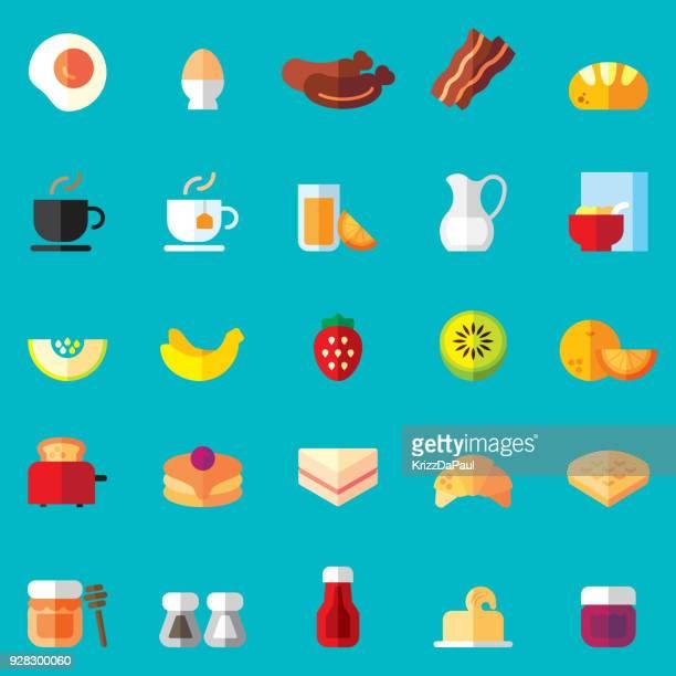 ilustrações, clipart, desenhos animados e ícones de ícones de plana de pequeno-almoço - croassão