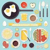 Breakfast food and drinks set