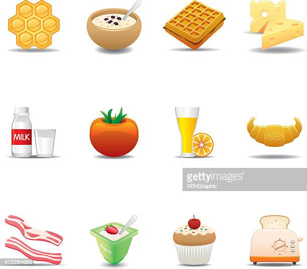 breakfast food icon set | elegant series - fruit juice stock illustrations, clip art, cartoons, & icons