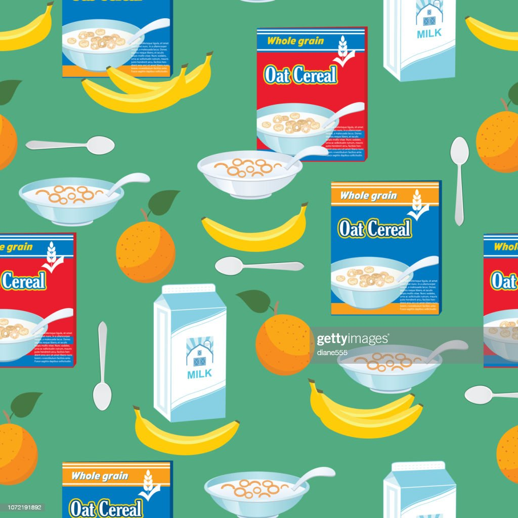 Breakfast Foods And Cereal Seamless Pattern : stock illustration
