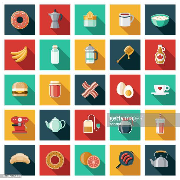 breakfast foods and drinks icon set - maple syrup stock illustrations