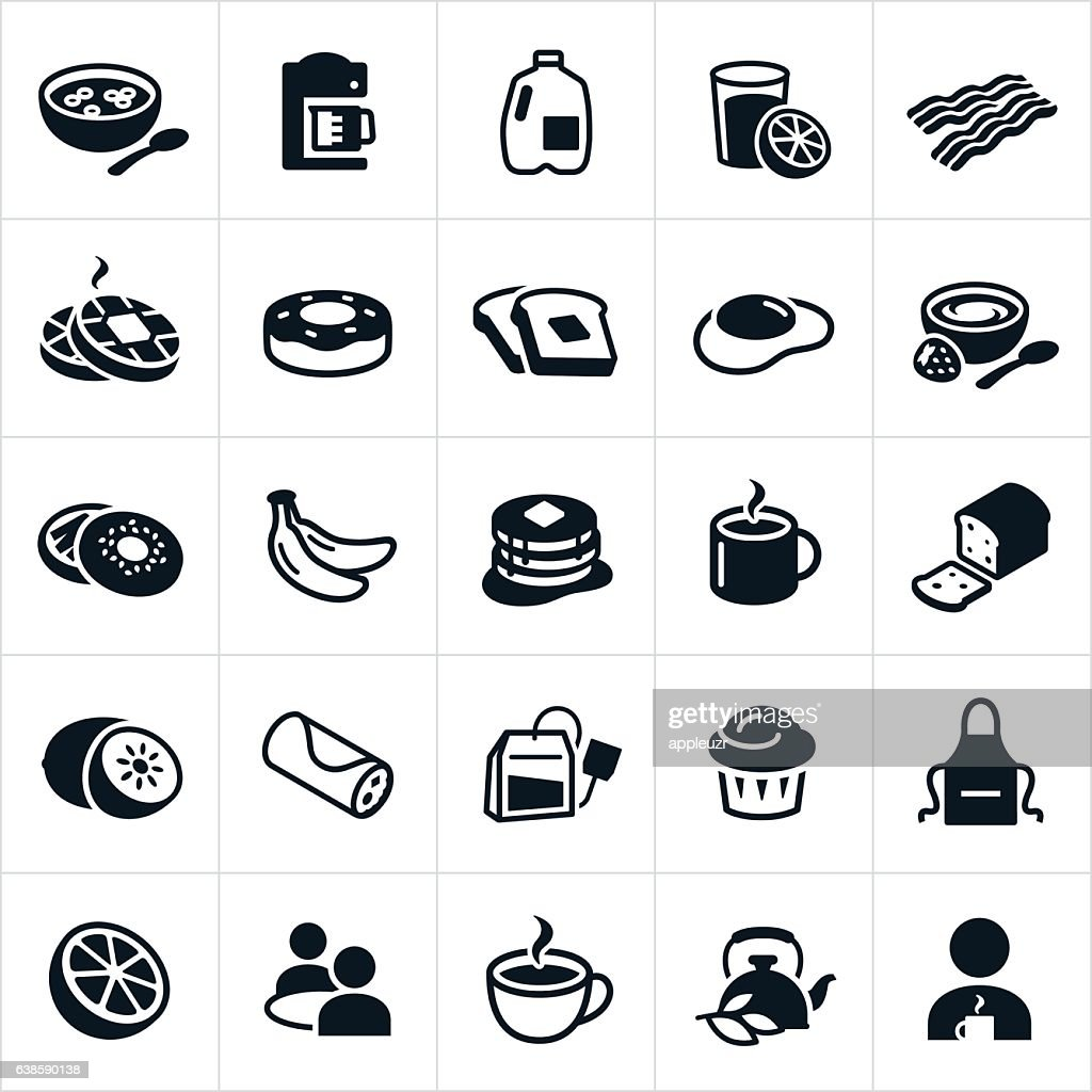 Breakfast Foods Icons : stock illustration