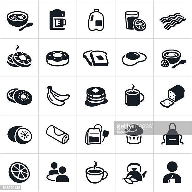 breakfast foods icons - breakfast cereal stock illustrations, clip art, cartoons, & icons