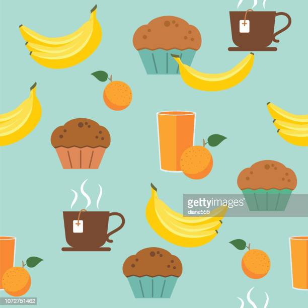 breakfast foods seamless pattern - muffin stock illustrations, clip art, cartoons, & icons