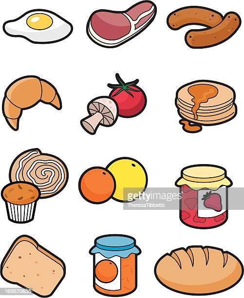 breakfast icon set - marmalade stock illustrations, clip art, cartoons, & icons