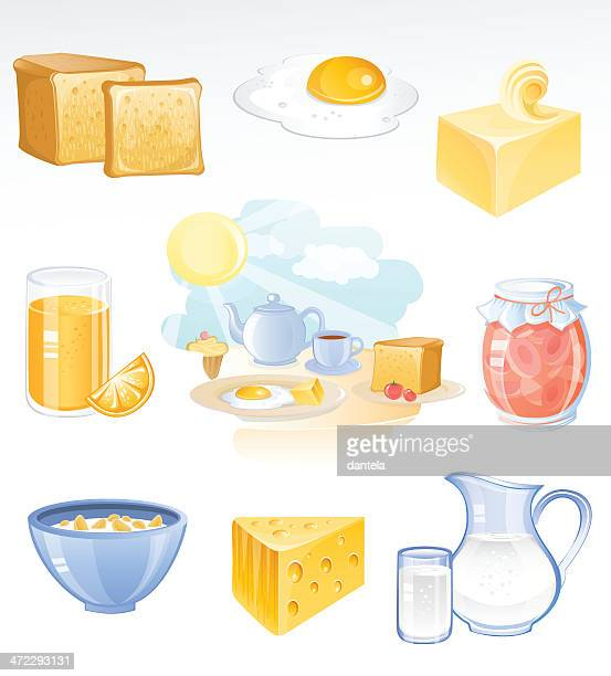 breakfast icon set - breakfast cereal stock illustrations, clip art, cartoons, & icons