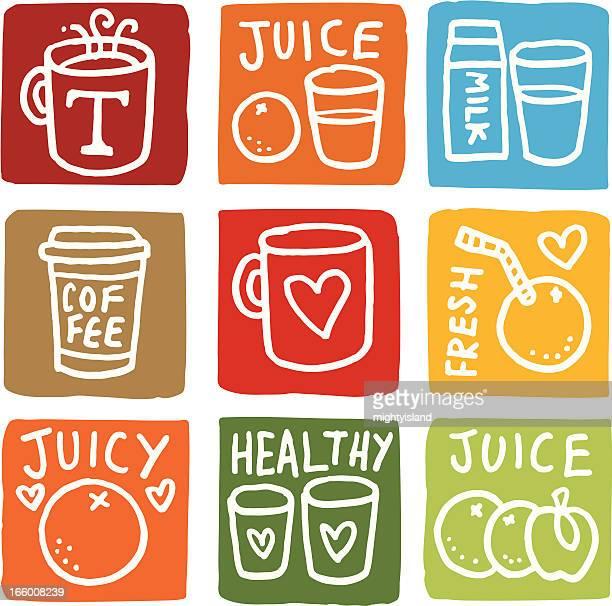 breakfast icons block icon set - fruit juice stock illustrations, clip art, cartoons, & icons