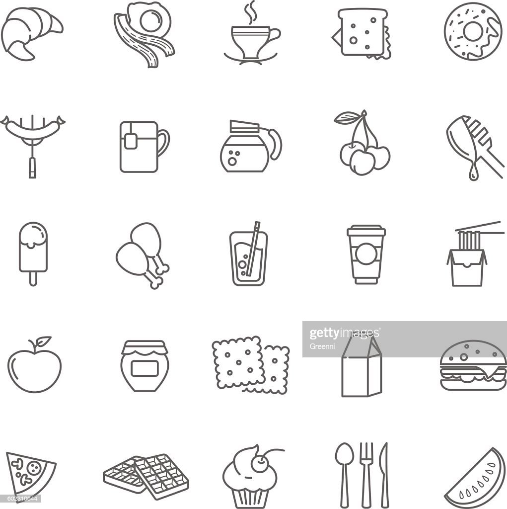 breakfast icons, stock vector set