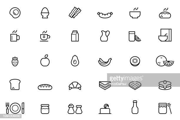 ilustraciones, imágenes clip art, dibujos animados e iconos de stock de iconos de desayuno - huevo comida básica