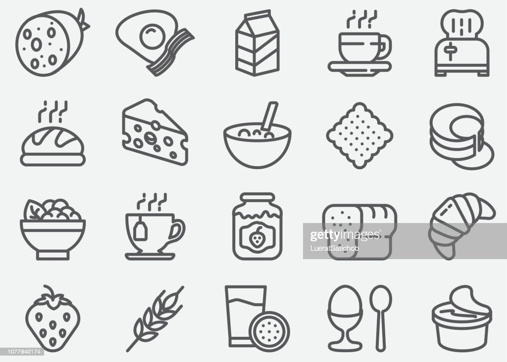 Breakfast Line Icons : stock illustration